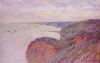 Claude Oscar Monet : On the Cliff near Dieppe, Overcast Skies