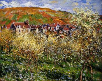 Claude Oscar Monet : Plum Trees in Blossom at Vetheuil