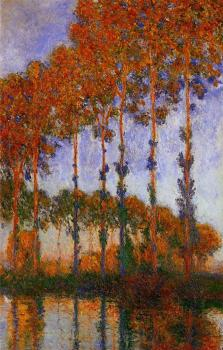 Claude Oscar Monet : Poplars on the Banks of the River Epte, Sunset