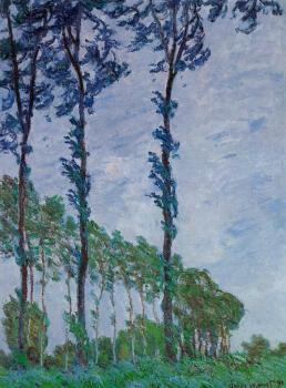 Claude Oscar Monet : Poplars, Wind Effect