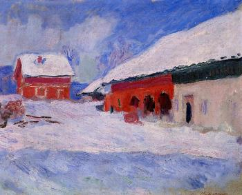 Claude Oscar Monet : Red Houses at Bjornegaard in the Snow, Norway