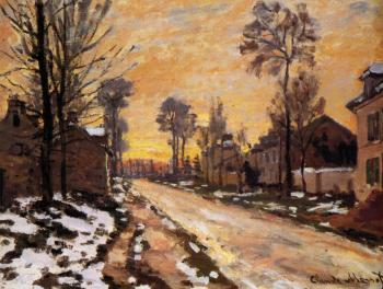 Claude Oscar Monet : Road at Louveciennes, Melting Snow, Sunset