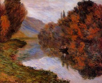Claude Oscar Monet : Rowboat on the Seine at Jeufosse