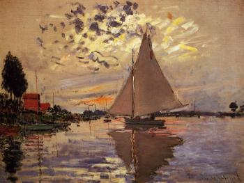 Claude Oscar Monet : Sailboat at Le Petit-Gennevilliers