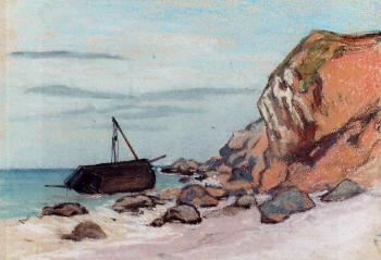 Claude Oscar Monet : Sainte-Adresse, Beached Sailboat