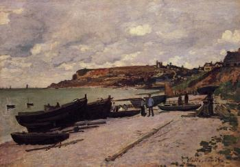 Claude Oscar Monet : Sainte-Adresse, Fishing Boats on the Shore