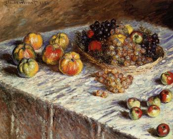 Claude Oscar Monet : Still Life, Apples and Grapes