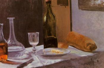 Claude Oscar Monet : Still Life with Bottle, Carafe, Bread and Wine
