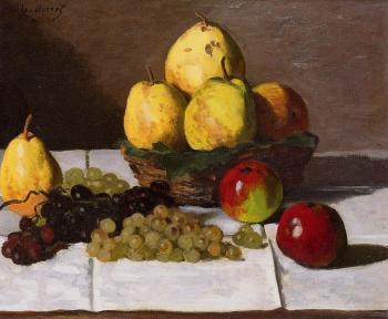 Claude Oscar Monet : Still Life with Pears and Grapes