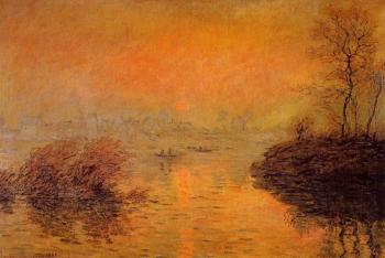 Claude Oscar Monet : Sunset on the Seine at Lavacourt, Winter Effect