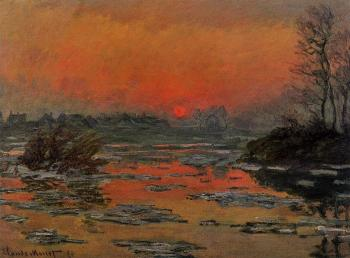 Claude Oscar Monet : Sunset on the Seine in Winter