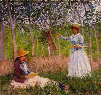 Claude Oscar Monet : Suzanne Reading and Blanche Painting by the Marsh at Giverny