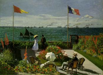 Claude Oscar Monet : Terrace by the Sea at Sainte-Adresse