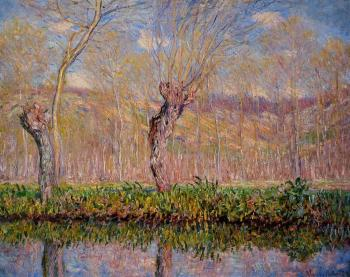 Claude Oscar Monet : The Banks of the River Epte in Spring