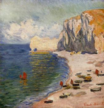Claude Oscar Monet : The Beach and the Falaise d'Amont