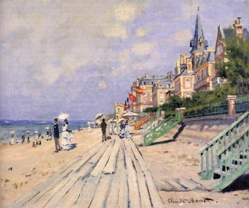 Claude Oscar Monet : The Boardwalk at Trouville