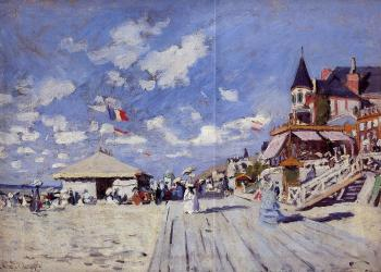 Claude Oscar Monet : The Boardwalk on the Beach at Trouville