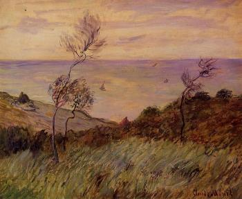 Claude Oscar Monet : The Cliffs of Varengeville, Gust of Wind