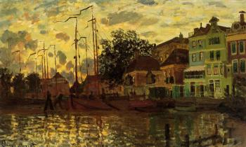 Claude Oscar Monet : The Dike at Zaandam, Evening