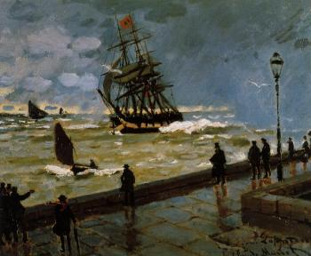 Claude Oscar Monet : The Jetty at Le Havre in Rough Westher