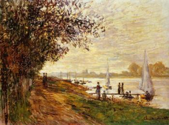 Claude Oscar Monet : The Riverbank at Le Petit-Gennevilliers, Sunset