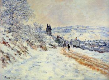 Claude Oscar Monet : The Road to Vetheuil, Snow Effect