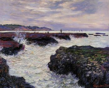Claude Oscar Monet : The Rocks at Pourville, Low Tide