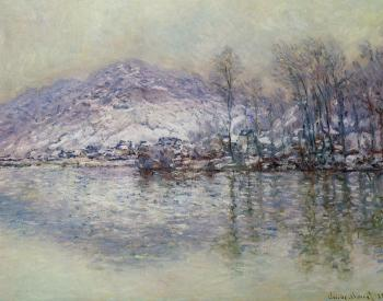 Claude Oscar Monet : The Seine at Port Villez, Snow Effect