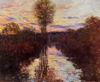 Claude Oscar Monet : The Small Arm of the Seine at Mosseaux, Evening