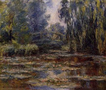 Claude Oscar Monet : The Water-Lily Pond and Bridge