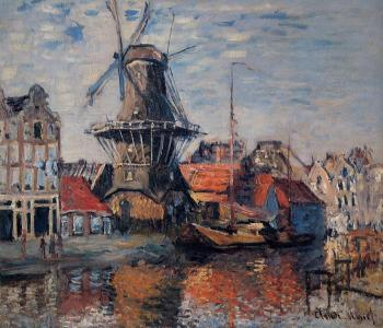 Claude Oscar Monet : The Windmill on the Onbekende Canal, Amsterdam