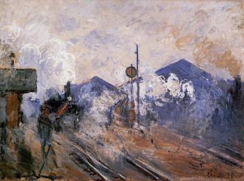 Claude Oscar Monet : Track Coming out of Saint-Lazare Station