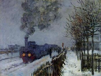 Claude Oscar Monet : Train in the Snow, the Locomotive