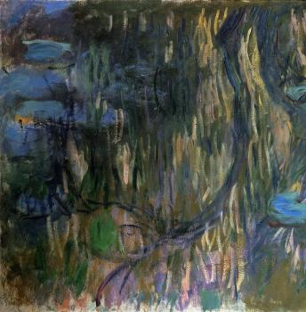 Claude Oscar Monet : Water-Lilies, Reflections of Weeping Willows, left half