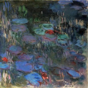 Claude Oscar Monet : Water-Lilies, Reflections of Weeping Willows, right half