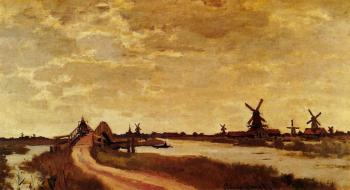 Claude Oscar Monet : Windmills at Haaldersbroek, Zaandam