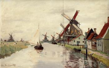 Claude Oscar Monet : Windmills in Holland