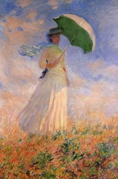 Claude Oscar Monet : Woman with a Parasol, Facing Right