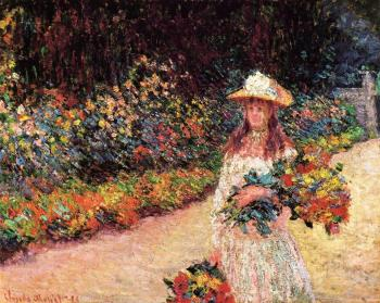 Claude Oscar Monet : Young Girl in the Garden at Giverny