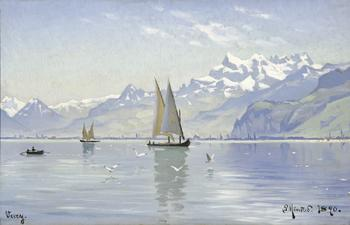 Peder Mork Monsted : View of Lake Vevey