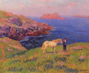 Henri Moret : Cliff at Quesant with Horse