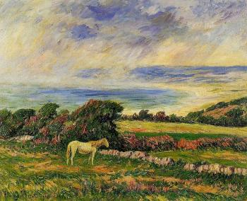 Henri Moret : Horse in a Meadow