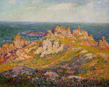 Henri Moret : Rocks by the Sea