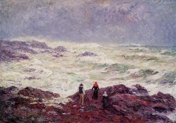 Henri Moret : Rough Weather at Raguenez, near Pont Aven