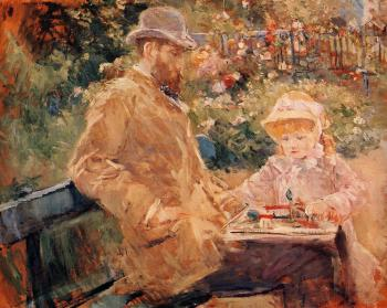 Berthe Morisot : Eugene Manet and His Daughter at Bougival