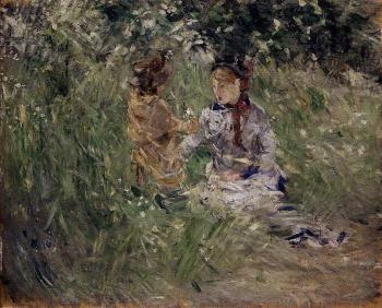 Berthe Morisot : Julie with Pasie in the Garden at Bougival
