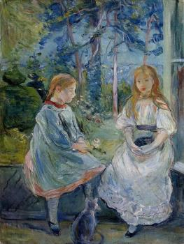 Berthe Morisot : Little Girls at the Window, Jeanne and Edma Bodeau