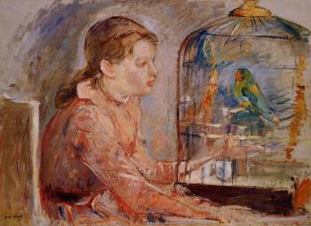 Berthe Morisot : Young Girl and the Budgie