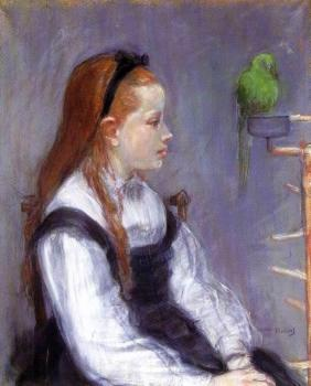 Berthe Morisot : Young Girl with a Parrot