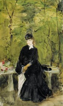 Berthe Morisot : Young Lady Seated on a Bench